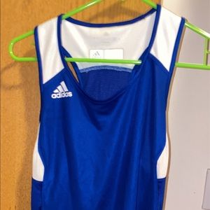 Blue and White Adidas Climate Control Tank